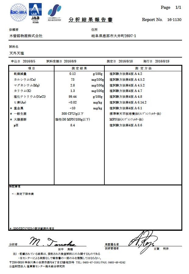 分析結果報告書